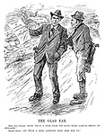 """The Glad Ear. First Sinn Feiner. """"Sure 'twas a fine tale we gave thim Labour bhoys to swallow."""" Second Ditto. """"An' 'twas a fine appetite they had for ut."""" (two Irishmen with guns in their pockets discuss the Report of Labour Commision on Ireland in the InterWar era)"""
