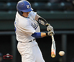 Left fielder Weston Jackson (15) of the Presbyterian Blue Hose bats in a game against the University of Pittsburgh Panthers on Tuesday, March 11, 2014, at Fluor Field at the West End in Greenville, South Carolina. Pitt won, 12-3. (Tom Priddy/Four Seam Images)