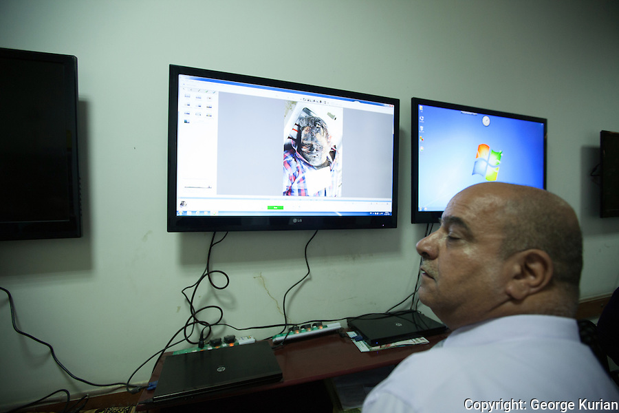 Inside the Casualty Identification Centre at the Baghdad morgue.<br />