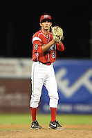 Batavia Muckdogs pitcher James Buckelew (8) during a game against the Lowell Spinners on July 18, 2014 at Dwyer Stadium in Batavia, New York.  Lowell defeated Batavia 11-2.  (Mike Janes/Four Seam Images)