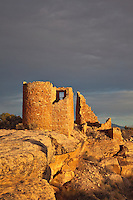 Hovenweep Castle along Little Ruin Canyon Trail, sunset, at Hovenweep National Monument, Utah, AGPix_1914.
