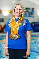 Picture by Rogan Thomson/SWpix.com - 08/12/2017 - Swimming - Team Bath Karen Bowen Feature -  Bath University, Bath, England - Team Bath AS club patron Stephanie Millward MBE poses with her Rio 2016 Paralympic medals.