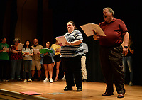 "NWA Democrat-Gazette/ANDY SHUPE<br /> Britt Graves (center) and Rusty Turner rehearse a scene Wednesday, Sept. 18, 2019, for ""Gridiron"" in Giffels Auditorium in Old Main on the University of Arkansas campus in Fayetteville."