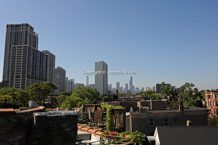 A view of the downtown from a rooftop on Lincoln Park West in Old Town in Chicago, Illinois on June 20, 2009.