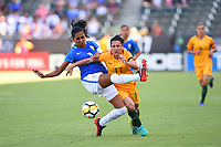 Carson, CA - Thursday August 03, 2017: Bruna Benites, Lisa De Vanna during a 2017 Tournament of Nations match between the women's national teams of Australia (AUS) and Brazil (BRA) at the StubHub Center.