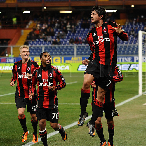 26.01.2011 Alexandre Pato struck twice in the first half as AC Milan beat Sampdoria 2-1 to reach the semi-finals of the Coppa Italia. Picture shows Pato celebrating one of his goals.