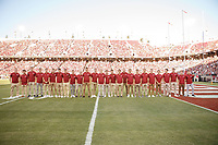 Stanford, CA - September 8, 2018: Stanford Men's Soccer team is honored during  Stanford vs USC football game Saturday night at Stanford Stadium.<br /> <br /> Score was USC3, Stanford 17.