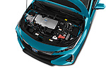 Car stock 2017 Toyota Prius Plug-in Hybride Solar 5 Door Hatchback engine high angle detail view