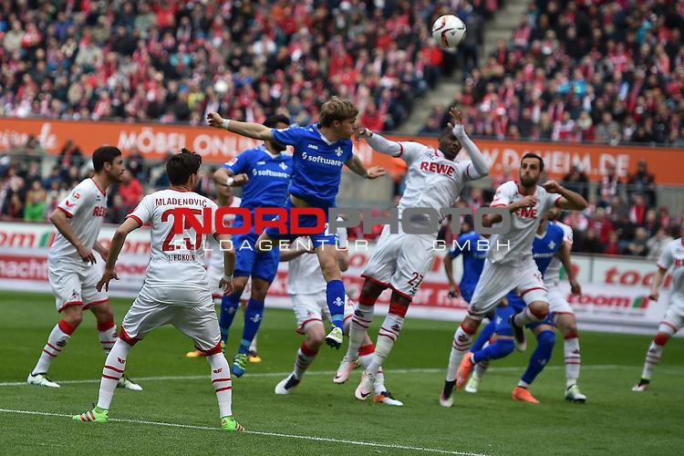 23.04.2016, RheinEnergie Stadion, Koeln, GER, 1.FBL,  1. FC Koeln vs SV Darmstadt 98<br /> im Bild / picture shows: <br /> Torchance f&uuml;r Florian Jungwirth (SV Darmstadt 98 #23)Filip Mladenovic (1. FC Koeln #25) li und Anthony Modeste (1. FC Koeln #27) re kl&auml;ren <br /> <br /> <br /> <br /> Foto &copy; nordphoto / meuter