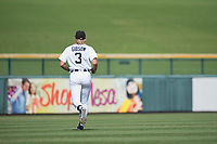 Mesa Solar Sox center fielder Cam Gibson (3), of the Detroit Tigers organization, jogs onto the field between innings of a game against the Salt River Rafters on October 18, 2017 at Sloan Park in Mesa, Arizona. The Rafters defeated the Solar Sox 6-5.(Zachary Lucy/Four Seam Images)