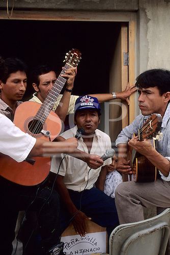 San Ignacio, Peru. Group of musicians with guitars and microphones.