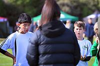 Ian Shin (Mount Maunganui Intermediate, left). Boys' football. 2019 AIMS games at Gordon Spratt Park in Papamoa, New Zealand on Thursday, 12 September 2019. Photo: Dave Lintott / lintottphoto.co.nz