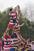 S. Loutongo claims lineout ball over J. McElween. Counties Manukau Rugby Union Premier round 7  game between Patumahoe & Karaka played at Patumahoe on May 26th 2007. Karaka led 5 - 3 at halftime and went on to win 12 - 3.