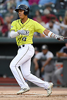 Third baseman Mark Vientos (13) of the Columbia Fireflies bats in a game against the Charleston RiverDogs on Thursday, April 4, 2019, at Segra Park in Columbia, South Carolina. Charleston won, 2-1. (Tom Priddy/Four Seam Images)