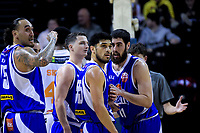 The Saints huddle during the national basketball league match between Cigna Wellington Saints and Hawkes Bay Hawks at TSB Bank Arena in Wellington, New Zealand on Sunday, 27 May 2018. Photo: Dave Lintott / lintottphoto.co.nz