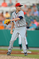 Mississippi Braves pitcher Zeke Spruill #57 delivers a pitch during the Southern League All-Star Game  at Smokies Park on June 19, 2012 in Kodak, Tennessee.  The South Division defeated the North Division 6-2. (Tony Farlow/Four Seam Images).