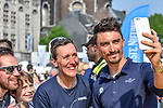 Julian Alaphilippe (FRA) Quick-Step Floors with fans outside Le Palais des Princes-&Eacute;v&ecirc;ques at the team presentation before the 104th edition of La Doyenne, Liege-Bastogne-Liege 2018, Belgium. 21st April 2018.<br /> Picture: ASO/Karen Edwards | Cyclefile<br /> <br /> <br /> All photos usage must carry mandatory copyright credit (&copy; Cyclefile | ASO/Karen Edwards)