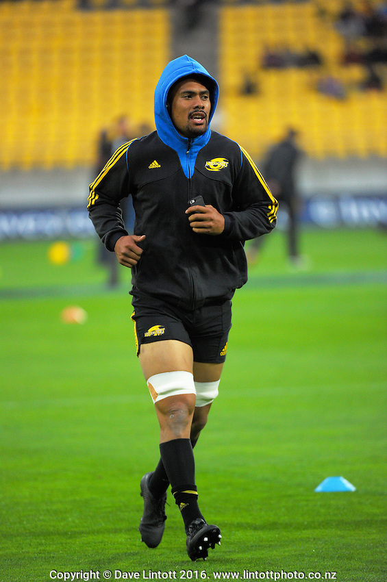 Ardie Savea warms up before the Super Rugby match between the Hurricanes and Southern Kings at Westpac Stadium, Wellington, New Zealand on Friday, 25 March 2016. Photo: Dave Lintott / lintottphoto.co.nz