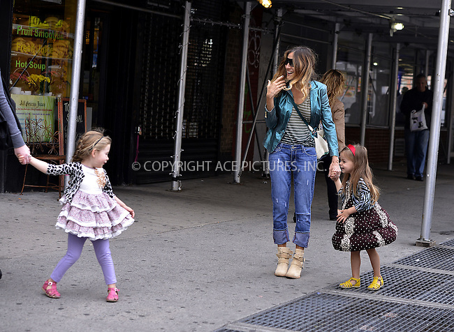 WWW.ACEPIXS.COM......April 19, 2013, New York City, NY.....Actress Sarah Jessica Parker picks up her twin daughters from school on April 19, 2013 in New York City...........By Line: Curtis Means/ACE Pictures....ACE Pictures, Inc..Tel: 646 769 0430..Email: info@acepixs.com