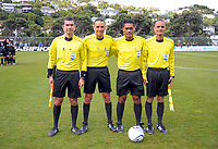 Match officials before the Oceania Football Championship final (second leg) football match between Team Wellington and Auckland City FC at David Farrington Park in Wellington, New Zealand on Sunday, 7 May 2017. Photo: Dave Lintott / lintottphoto.co.nz