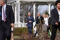 Washington, DC - March 19, 2015: His Royal Highness The Prince of Wales (l) and the Duchess of Cornwall (r) enter the grounds of the Abraham Lincoln Cottage and Soldiers Home in the District of Columbia, March 19, 2015, as part of a four-day USA visit. Prince Charles is accompanied by Lester Fant III, Chairman of the Lincoln Cottage Site Counsel and his wife Susan. (Photo by Don Baxter/Media Images International)
