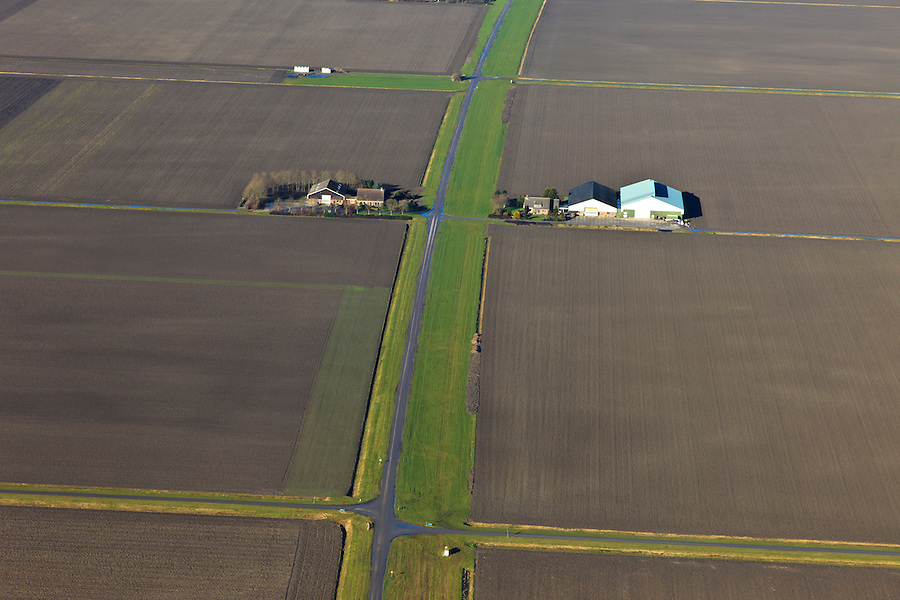 Nederland, Flevoland, Flevopolder, 20-01-2011; boerderijen en rationele verkaveling.tekentafel.Farm in the polder Flevoland in a land division landscape..luchtfoto (toeslag), aerial photo (additional fee required).copyright foto/photo Siebe Swart