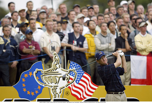 DAVIS LOVE III (USA) on the 15th tee, Foursomes Match, 34th Ryder Cup, The Belfry, Sutton Coldfield, 020928. Photo: Glyn Kirk/Action Plus....2002.golf golfer player