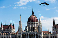 Picture by Rogan Thomson/SWpix.com - 30/07/2017 - High Diving - Fina World Championships 2017 -  Batthyany Ter, Budapest, Hungary - Blake Aldridge of Great Britian in action during the Final of the Men's High Dive competition.