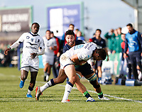 17th November 2019; The Sportsground, Galway, Connacht, Ireland; European Rugby Champions Cup, Connacht versus Montpellier; Colby Fainga'a (Connacht) looks for a way past Jan Serfontein (Montpellier) - Editorial Use