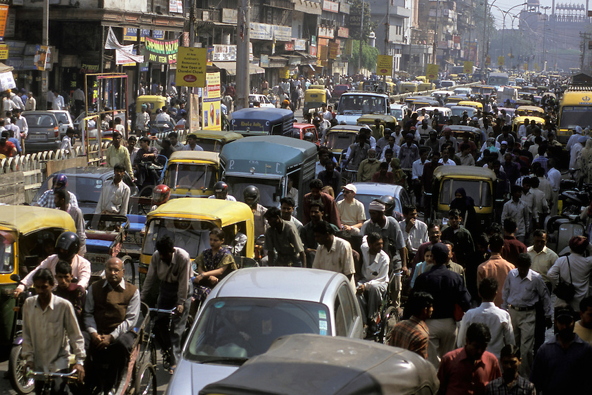 India, Old Delhi, Chandni Chowk, congested street scene.