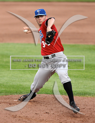 Norfolk Tides Starting Pitcher Jake Arrieta (34) during a game vs. the Rochester Red Wings at Frontier Field in Rochester, New York;  May 31, 2010.  Norfolk defeated Rochester by the score of 2-1.  Photo By Mike Janes/Four Seam Images