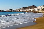 Beach and waves at San José, Cabo de Gata natural park, Almeria, Spain