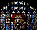 Sixteenth century stained glass windows inside church of Saint Mary, Fairford, Gloucestershire, England, UK - window 15 Heaven, The Last Judgement