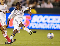 LA Galaxy forward Edson Buddle (14) takes a shot on goal. The Chicago Fire defeated the LA Galaxy 1-0 at Home Depot Center stadium in Carson, California on Thursday, August 21, 2008.