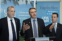 March 18, 2014 - Philippe Couillard, Liberal leader adress the UPA during the electoral campaign.<br /> <br /> Philippe Couillard devant l'UPA et ses 38 groupes affiliés<br /> <br /> L-R : Couillard, Marcel Groleau, PDG, UPA, Stephane Billette, PLQ<br /> <br /> Photo : Pierre Roussel