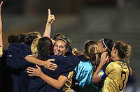 United States Carli Lloyd celebrating the championship, during game of the Womens Preolympic soccer tournament held at Ciudad Juarez. Mexico