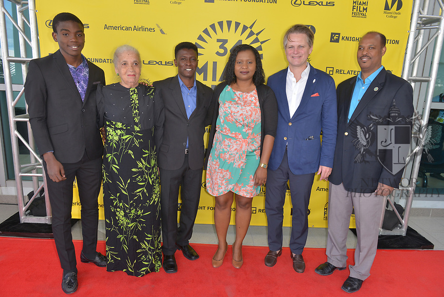 MIAMI, FL - MARCH 04: Mark Valens, Nicole St. Victor,  Jean-Bernard Desinat, Bernadette William, Owsley Brown and David César attend the Miami Film Festival screening for 'Serenade for Haiti' at Regal South Beach on March 4, 2017 in Miami, Florida.  ( Photo by Johnny Louis / jlnphotography.com )