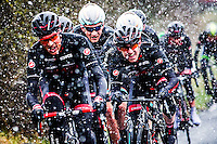 UK Picture Editors Guild Awards - Picture by Alex Whitehead/SWpix.com - 12/04/2015 - British Cycling - Spring Cup Elite Road Series - Tour of the Reservoir, Northumberland, England - NFTO's Ian Bibby (L), Madison-Genesis' Mark McNally (centre) and NFTO's Eddie Dunbar (R) lead the peloton up a climb during Stage 2 in snowy conditions.
