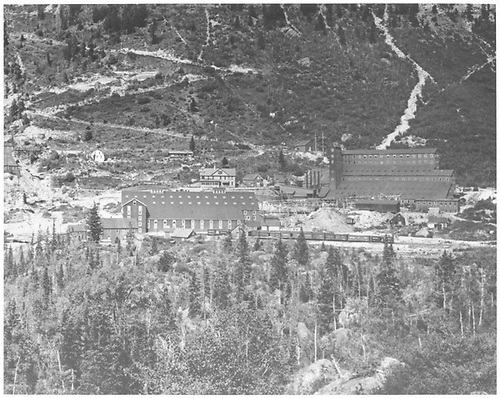 The Smuggler-Union Miining Co. mill complex at Pandora with the Red Mill at right and the Gray (Ball) Mill at left.<br /> RGS  Pandora, CO  1900-1905