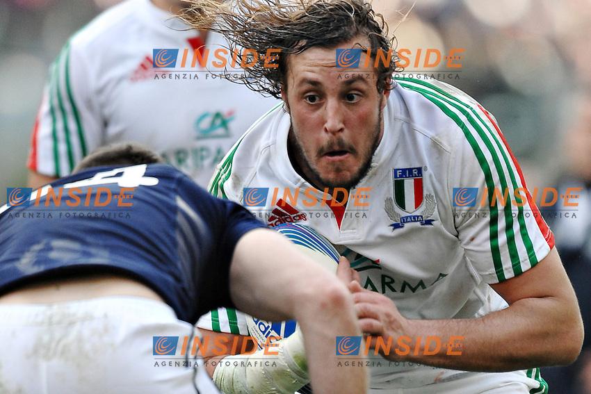 """Joshua Furno Italia.<br /> Roma 22-02-2014, Stadio Olimpico. Sei Nazioni di Rugby / Rugby Six Nations - Italia vs Scozia - Foto """"Antonietta Baldassarre"""" Insidefoto"""