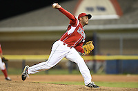 Batavia Muckdogs pitcher Miguel Fermin (56), on a minor league rehab assignment, delivers a pitch during a game against the Auburn Doubledays on June 16, 2014 at Dwyer Stadium in Batavia, New York.  Batavia defeated Auburn 4-3.  (Mike Janes/Four Seam Images)