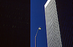 Lamp post between two buildings on a sunny afternoon downtown Seattle Washington State USA