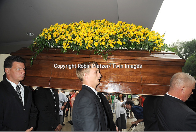The Casket attends Marvin Hamlisch's funeral on August 14, 2012 .at Temple Emanuel in New York City.