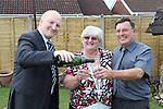 Big Break Winners Pauline and Alan Dare with Phil Atwell, Welsh Water Call Centre Manager..31.07.12.©Steve Pope