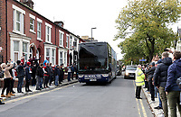The Manchester City team bus as it arrives at Anfield ahead of kick-off<br /> <br /> Photographer Rich Linley/CameraSport<br /> <br /> The Premier League - Liverpool v Manchester City - Sunday 7th October 2018 - Anfield - Liverpool<br /> <br /> World Copyright &copy; 2018 CameraSport. All rights reserved. 43 Linden Ave. Countesthorpe. Leicester. England. LE8 5PG - Tel: +44 (0) 116 277 4147 - admin@camerasport.com - www.camerasport.com