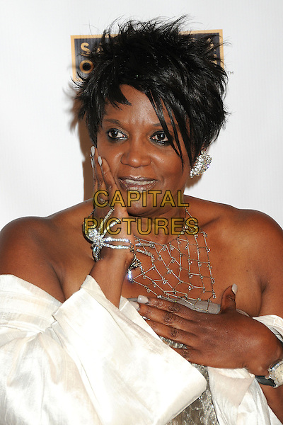 Anna Maria Horsford<br /> Academy of Television Arts &amp; Sciences' Dynamic and Diverse 2013 Emmy Nominee Reception, North Hollywood, California, USA.<br /> September 17th, 2013<br /> half length silver strapless headshot portrait sider ring bracelet necklace white off the shoulder jacket coat hand arm<br /> CAP/ADM/BP<br /> &copy;Byron Purvis/AdMedia/Capital Pictures