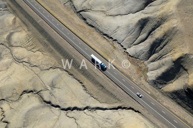 Interstate Highway with truck and car on I-70 in Utah