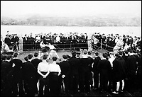 BNPS.co.uk (01202 558833)Pic: CharterhouseAuctioneers/BNPS<br /> <br /> Royal Navy officers partake in a boxing match for entertainment. <br /> <br /> A remarkable wartime photo album that highlights the perilous nature of landing a fighter plane on an aircraft carrier in heavy seas has been unearthed.<br /> <br /> The black and white snaps show several Royal Naval aircraft coming a cropper while attempting to land on board HMS Fencer often in heavy seas.<br /> <br /> One set of images depict a Swordfish biplane crashing into the sea a few hundred yards off the aircraft carrier HMS Fencer.<br /> <br /> Other photos show a Supermarine Seafire about the crash into the superstructure.<br /> <br /> The album will be sold by Charterhouse Auctioneers in Sherborne, Dorset.