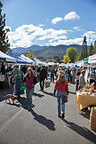 USA, Oregon, Ashland, people stroll through the Rogue Valley Growers and Crafters Market