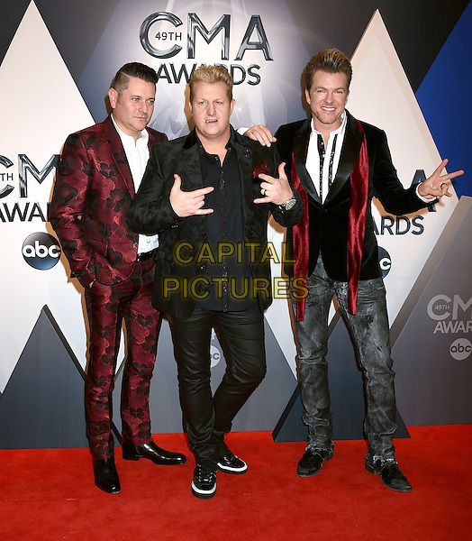4 November 2015 - Nashville, Tennessee - Jay DeMarcus, Gary LeVox, Joe Don Rooney, Rascal Flatts. 49th CMA Awards, Country Music's Biggest Night, held at Bridgestone Arena. <br /> CAP/ADM/LF<br /> &copy;LF/ADM/Capital Pictures